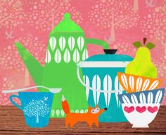 Good Morning ...enjoy your daily cups of coffee... Still life with stuffed fox | by Sevenstar aka Elisandra