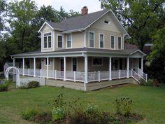 cream house with wraparound porch - Google Search