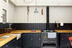 Butcher Block Kitchen, Butcher Block Countertops, Kitchen Countertops, Kitchen Backsplash, Kitchen Cabinets, Black Cabinets, Wall Cupboards, Painted Cupboards, Black Backsplash
