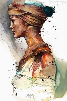 Artist: Rahaf Dk Albab {contemporary figurative female profile woman watercolor grunge splashes painting}