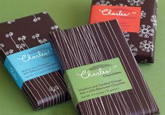 Charles Siegel Chocolatier Chocolates... package designed by Hatch Design.  This is a great example of a label like design.
