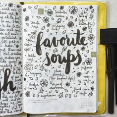 What are your favorite soups? #lifecapturedproject #journal #artjournal #hobonichi #planner #diary #notebook #filofax #mtn #midori #scrapbooking #stationery #pens #doodles #doodling #type #typography #letters #lettering #handwriting #handlettering #lettering #calligraphy #brushpens #brushlettering