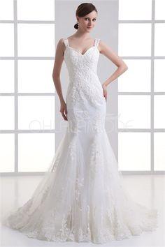 Robe de mariée sirène sexy décoration perlée et d´appliques en satin/gaze