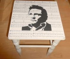 Upcycling and old stool to a rocking Johnny Cash one! by Guzel-Radkevich Fuchs For Fun Recycled Crafts, Repurposed Furniture, Cool Furniture, Painted Furniture, Music Crafts, Home Crafts, Diy Home Decor, Furniture Projects, Furniture Makeover