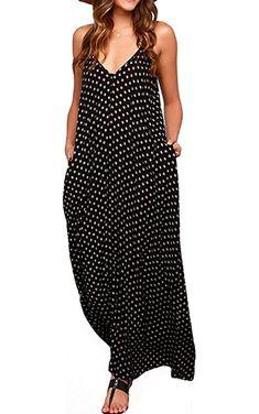 LILBETTER Women's Loose V-neck Sleeveless Dot Print Boho Long Maxi Dress (Black,L)