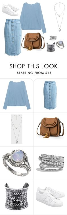 A fashion look from September 2016 featuring blue crewneck sweater, blue a line skirt and footwear. Browse and shop related looks. David Yurman, Fashion Fall, Adidas Originals, Mango, Shoe Bag, Polyvore, Stuff To Buy, Outfits, Shopping