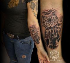 Realistic Dreamcatcher Tattoo | 13.22 Tattoo Studio Queens P ... 22 Tattoo, Tattoo Art, Dream Catcher Tattoo, Fine Line Tattoos, Stippling, Tattoo Studio, Stencil, Queens, Drawing