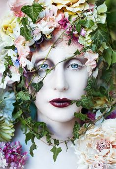 The Pure Blood Of A Blossom - (200cm high) To read about this shoot and watch the film of it being made + many more behind the scenes pictures please visit the Diary entry here - www.kirstymitchellphotography.com/diary/?p=2526  Costume, wig and set are all hand made by myself and true scale.  FB - www.facebook.com/kirstymitchellphotography Website - www.kirstymitchellphotography.com