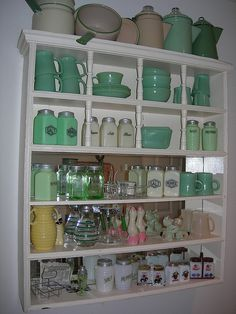Cream and green enamel ware, jadite, and green depression glass! my weakness
