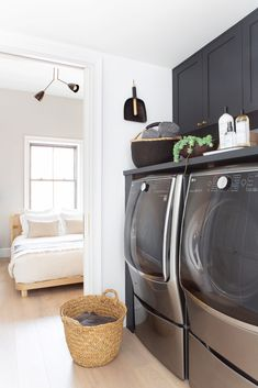 The Best Paint Color in Every Room of Athena Calderone's Brooklyn Home Small Washer And Dryer, Best Paint Colors, Dutch Colonial, Home Reno, Laundry Room, Townhouse, Home Appliances, Brooklyn, House Appliances