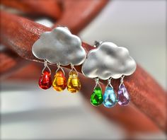 Rainbow Rain Drop Silver Cloud, Czech glass teardrop Silver Cloud Stud Earrings. $16.50, via Etsy.