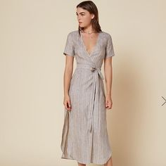 bec87076f3 Shop Women s Reformation size XS Maxi at a discounted price at Poshmark.  Description  Linen adjustable wrap dress size XS S lightweight material.