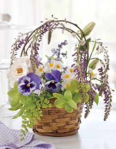 Basket of Posies - Give Flowers: The Best Ways to Leave Doorstep Surprises - Southern Lady Magazine