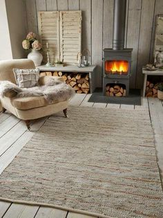 Cotton & Leather Rug in a scandinavian interior. Stove Fireplace, Wood Stove Hearth, Slate Hearth, Interior And Exterior, Interior Design, Cabin Interiors, Scandinavian Interior, Nordic Interior, Scandinavian Style