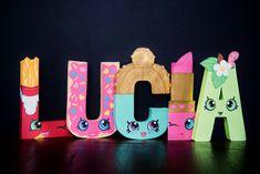 Shopkins Paper Mache Letters / Party / Decor -  Fiona Fries, D'lish Donut, Sparkly Spritz, Lippy Lipstick, Apple Blossom