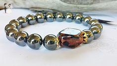 Gift For Him ~ Gunmetal Hematite Roll On Mens Bracelet, Male Graduation Gift For Son, Cool Fathers Day or Groomsman Present, Uni Jewelry - Wedding bracelets (*Amazon Partner-Link)