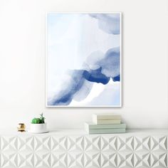 Blue Watercolour Painting, Blue Abstract Art, Printable Contemporary Art, Calming Watercolour Print, Large Wall Print by InspirationAbstracts on Etsy
