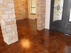 Stained concrete floor for basement