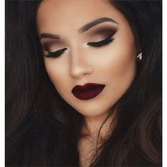 beautiful, black, brown hair, dark, eye, eyebrown, eyelashes, eyeliner, eyes, girl, lashes, lipstick, long hair, mac, make up, red, smokey, woman