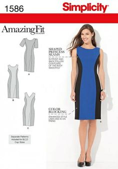 Simplicity Sewing Pattern 1586 color block dress