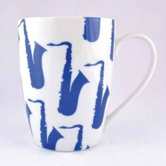 Blue Saxophone Porcelain Mug by Music Treasures Co.. $6.00. Material: Porcelain Capacity: 14 ounces Medium-sized mug Measurement: 4 in. H x 10 in. R x 7 in. BWeight: 14.6 ounces