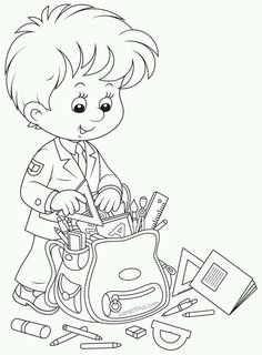 Back to School Coloring Pages - Sarah Titus School Coloring Pages, Adult Coloring Pages, Coloring Sheets, Colouring Pics, Coloring Pages For Kids, Coloring Books, Kids Coloring, School Boy, Back To School