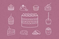 Set of 22 Desserts and Cakes icons by InnaMoreva on @creativemarket