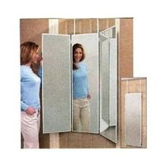 Over The Door Three Way Mirror; Folds Flat But Opens At All