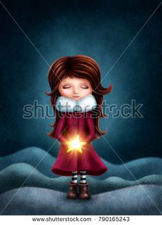 Little girl with star in the hands