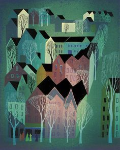 Village by Eyvind Earle.Artist: Eyvind Earle Place of Creation: United States Style: Magic Realism Genre: landscape Tags: countryside Art And Illustration, City Poster, Eyvind Earle, Inspiration Artistique, Art Graphique, American Artists, Illustrators, Cool Art, Concept Art