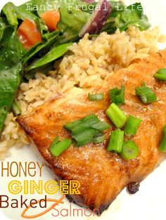 Honey Ginger Salmon  marinate salmon for 30 min in   1 teaspoon grated fresh ginger  1 teaspoon minced Garlic  1/3 cup soy sauce  1/3 cup orange juice  1/4 cup honey  1 green onion, chopped    bake 375 for 15-18 min