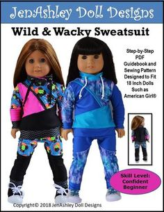 18 inch doll clothes PDF sewing pattern athletic sweatsuit designed to fit American Girl dolls