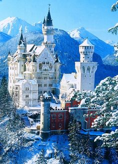 "Neuschwanstein Castle in Bavaria, Germany. Is the height of fairy tale castles. In fact, it was build for Ludwig II of Bavaria in 1869 by a theatrical set designer, rather than an architect. The name means ""New Swan Stone,"" after a Wagner opera.  It was also the inspiration for Disney's Sleeping Beauty Castle."