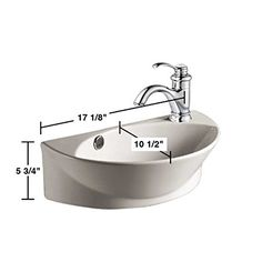 Small White Wall Mount Bathroom Vessel Sink with Single Faucet Hole, Overflow, Scratch Resistant Finish - - Amazon.com
