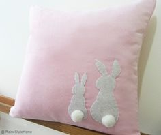 Two Little Lovely Rabbits Soft Pink Pillow Cover. Spring Summer Bunny | SmilingCloud - Children's on ArtFire