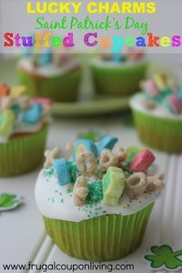 FILLED WITH MARSHMALLOWS! Lucky Charms Marshmallow Filled Cupcakes – Saint Patrick's Day Dessert on Frugal Coupon Living Kids Food Craft. Cupcake Recipe. Marshmallow Recipe.