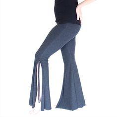 Tribal fusion bellydance pants - SPLIT FLARES, flares workout dance pants, festival clothing, bell bottom