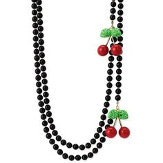 Betsey Johnson cherry themed jewelry ❤ liked on Polyvore featuring jewelry, necklaces, betsey johnson, cherry, pearl, pearl jewellery, long beaded necklace, red bead necklace, pearl bead necklace and pearl necklace