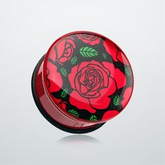Romantic Red Rose Single Flared Ear Gauge Plug