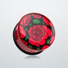 Romantic Red Rose Single Flared Ear Gauge Plug