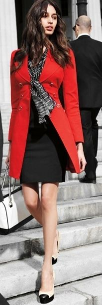 Black, white and perfect red jacket #fashion #style