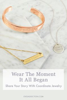 Treasure the moment you knew it was love with a custom coordinate necklace or bracelet. Customized with longitude latitude coordinates of that special location, you can wear the magical moment with you always and in style. Save 30% and receive a free shipping  offer when you order today. Makes for a perfect wedding or anniversary gift! #weddingjewelry