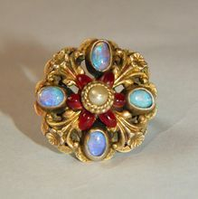 Austro Hungarian Silver Opal, Pearl & Red Enamel Ring, Size 7.75
