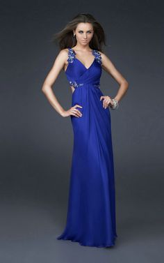 Delicate Appliques Halter Sexy Deep V Neck Side Cut Open Back Dark Royal Blue Chiffon Long Prom Dress 2013-in Prom Dresses from Apparel & Accessories on Aliexpress.com