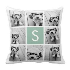 #Photo #Collage #Custom #Monogram Mint Green Throw #Pillow - cute for a #pet but cute for a #baby's room too!
