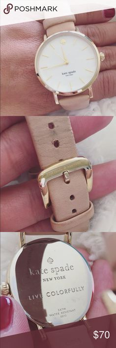 Kate Spade watch Used Kate Spade watch with light pink leather band. Still in great condition. Signs of wear and distress on leather band. kate spade Accessories Watches