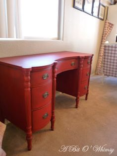 A Bit O' Whimsy: Emperors Silk Red Desk Vintage Furniture, Painted Furniture, Red Desk, Paint Samples, Annie Sloan Chalk Paint, Milk Paint, Diy Clay, Furniture Makeover, Vintage Looks