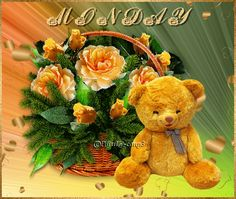 Beautiful Monday Beautiful Monday, Beautiful Gif, Beautiful Roses, Happy Day Gif, Good Morning Cutie, Monday Blessings, Morning Images, Morning Coffee, Teddy Bears