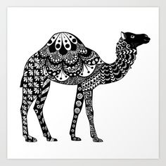 Camel Art Print by zendoerki Camel Tattoo, Camel Craft, Zentangle, Japanese Watercolor, Camelo, Animal Doodles, Tangle Art, Sharpie Art, Arabic Art