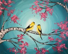 Spring Finches at Pinot's Palette makes a great gift to give to mom for Mother's Day! #birdpainting #mothersday #giftideas
